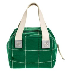 Chanel Green Chocolate Bar Stitch Canvas Boston Bag