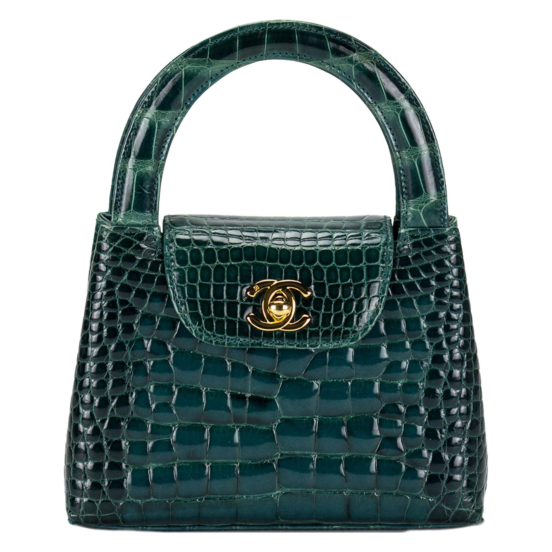 Chanel Green Crocodile Alligator Vintage Mini Minuadiére Kelly Top Handle Bag