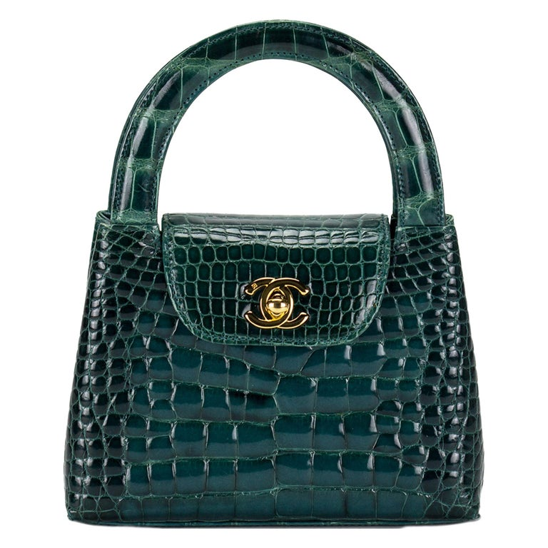Chanel green crocodile mini top-handle bag, 1997