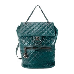 Chanel Green Distressed Leather Backpack