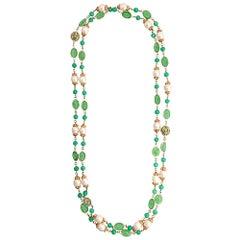 Chanel Green Embellished Necklace