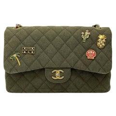 Chanel Green Fabbric Jumbo Cuba Bag