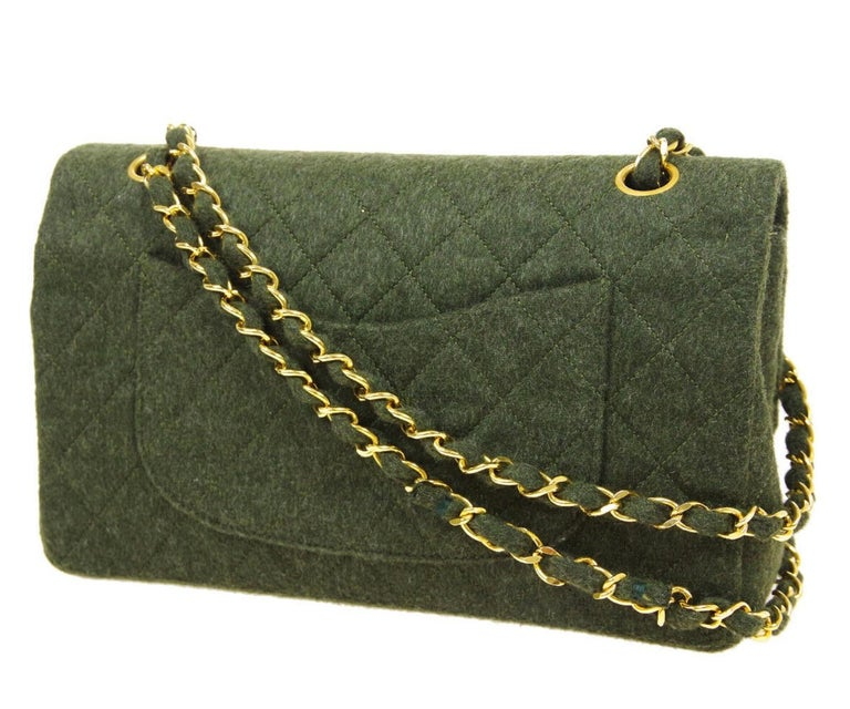 Chanel Green Felt Gold Medium Double Evening Shoulder Flap Bag In Good Condition For Sale In Chicago, IL