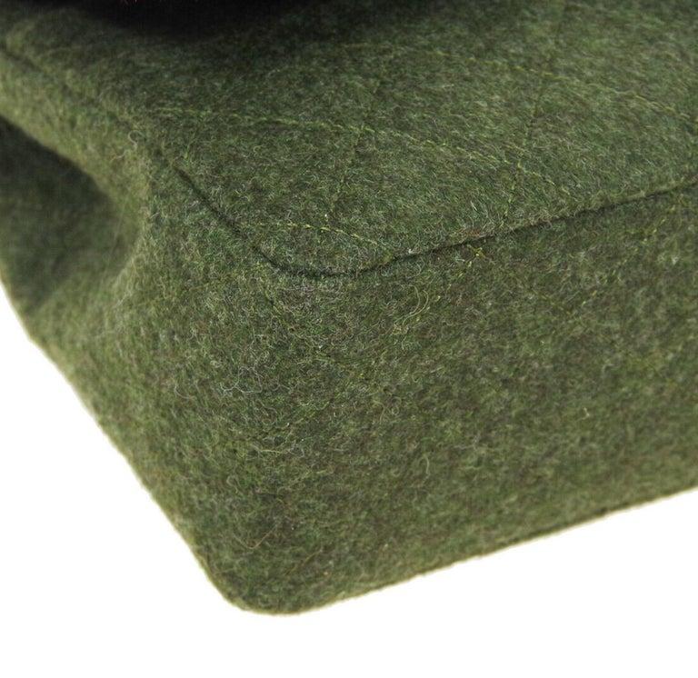 Chanel Green Felt Gold Medium Double Evening Shoulder Flap Bag For Sale 1