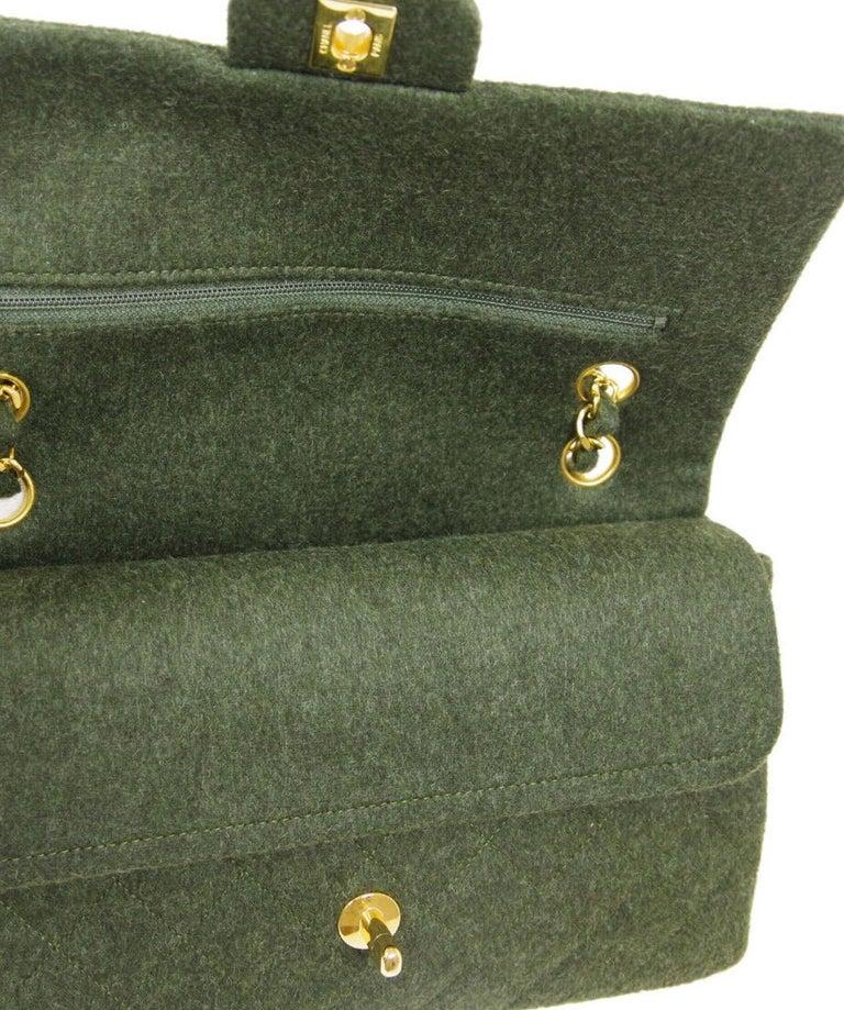 Chanel Green Felt Gold Medium Double Evening Shoulder Flap Bag For Sale 2