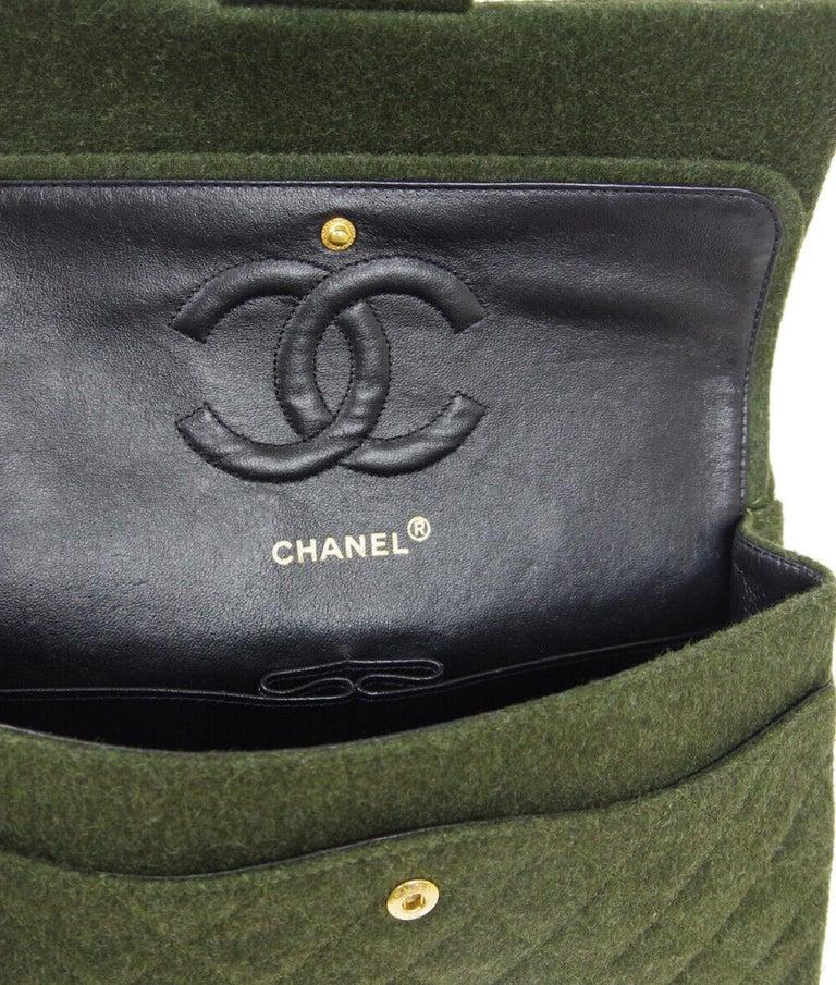 Chanel Green Felt Gold Medium Double Evening Shoulder Flap Bag For Sale 3