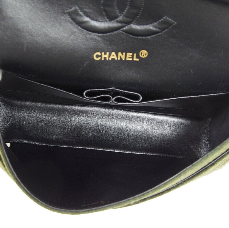 Chanel Green Felt Gold Medium Double Evening Shoulder Flap Bag For Sale 4