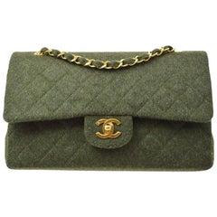Chanel Green Felt Gold Medium Double Evening Shoulder Flap Bag