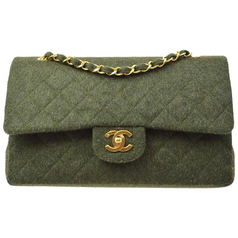 Chanel Green Felt Gold Medium Double Evening Shoulder Flap Bag For Sale