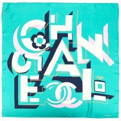 Chanel Green Geometric Logo Silk Scarf