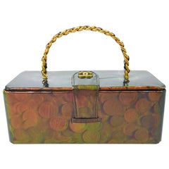 Chanel Green Gold Patent Top Handle Travel Cosmetic Jewelry Vanity Box Bag