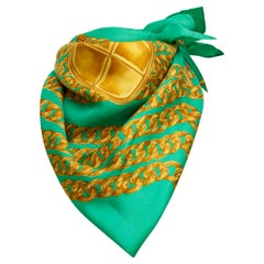 Chanel Green & Gold Printed Silk Scarf