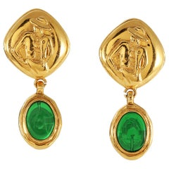 Chanel Green Gripoix Coco Earrings