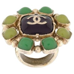Chanel Green Jewelled Ring