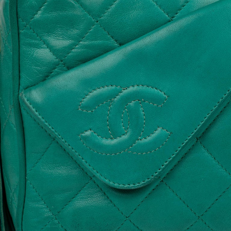 Chanel Green Lamb Skin Leather Shoulder Bag In Good Condition For Sale In Paris, Paris