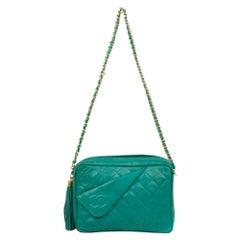 Chanel Green Lamb Skin Leather Shoulder Bag