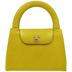 Chanel Green Leather Gold Small Mini Top Handle Satchel Kelly Style Bag