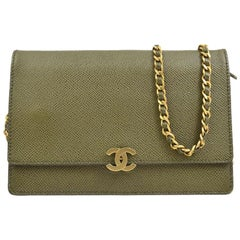Chanel Green Leather Gold Wallet on Chain WOC Evening Shoulder Flap Bag