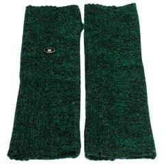 Chanel Green Lurex Knit Embellished Fingerless Gloves