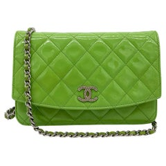 Chanel Green Patent Leather Wallet on Chain