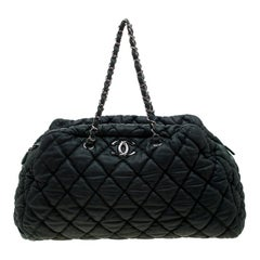 Chanel Green Quilted Bubble Leather Bowler Bag