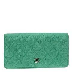 Chanel Green Quilted Caviar Leather Classic Bi-Fold Wallet