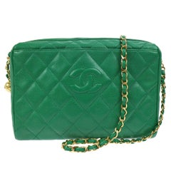 Chanel Green Quilted Caviar Leather Shoulder Bag