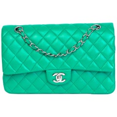Chanel Green Quilted Lambskin Leather Medium Double Flap Bag classic