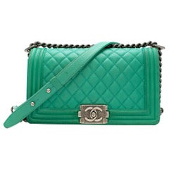 Chanel Green Quilted Leather Boy Bag