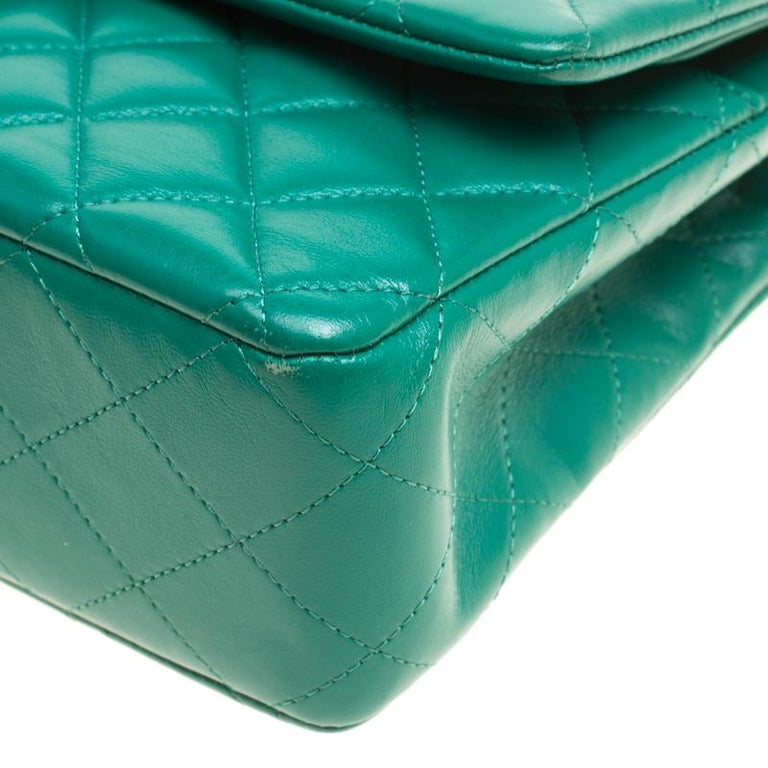 Chanel Green Quilted Leather Medium Classic Double Flap Bag 7