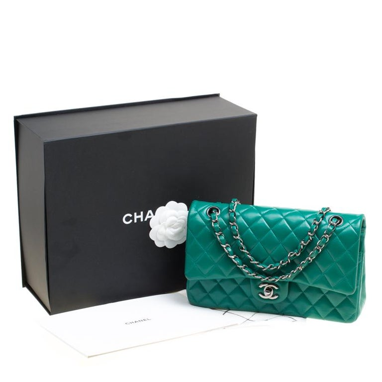 Chanel Green Quilted Leather Medium Classic Double Flap Bag 8