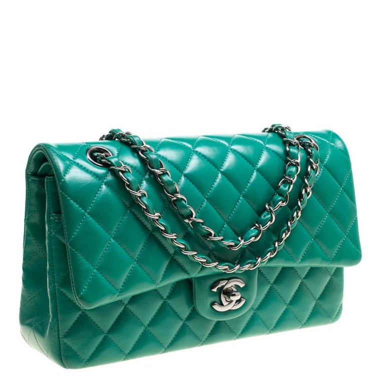 Women's Chanel Green Quilted Leather Medium Classic Double Flap Bag