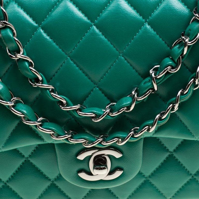 Chanel Green Quilted Leather Medium Classic Double Flap Bag 1
