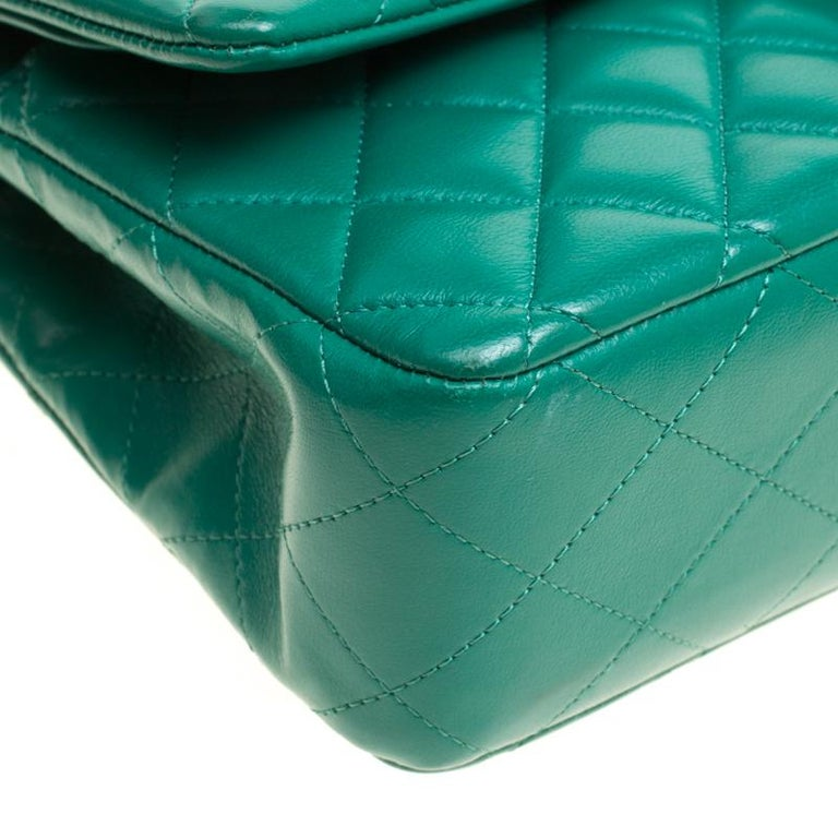 Chanel Green Quilted Leather Medium Classic Double Flap Bag 2