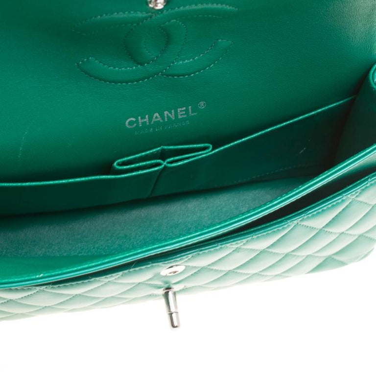 Chanel Green Quilted Leather Medium Classic Double Flap Bag 3