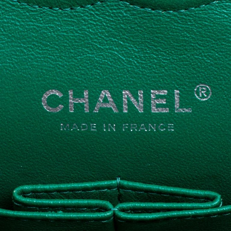 Chanel Green Quilted Leather Medium Classic Double Flap Bag 5