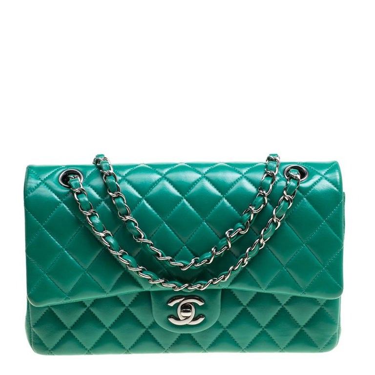 Chanel Green Quilted Leather Medium Classic Double Flap Bag