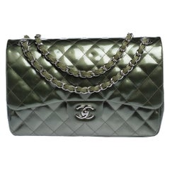 Chanel Green Quilted Patent Leather Jumbo Classic Double Flap Bag
