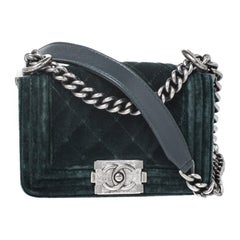 Chanel Green Quilted Velvet Mini Boy Flap Bag