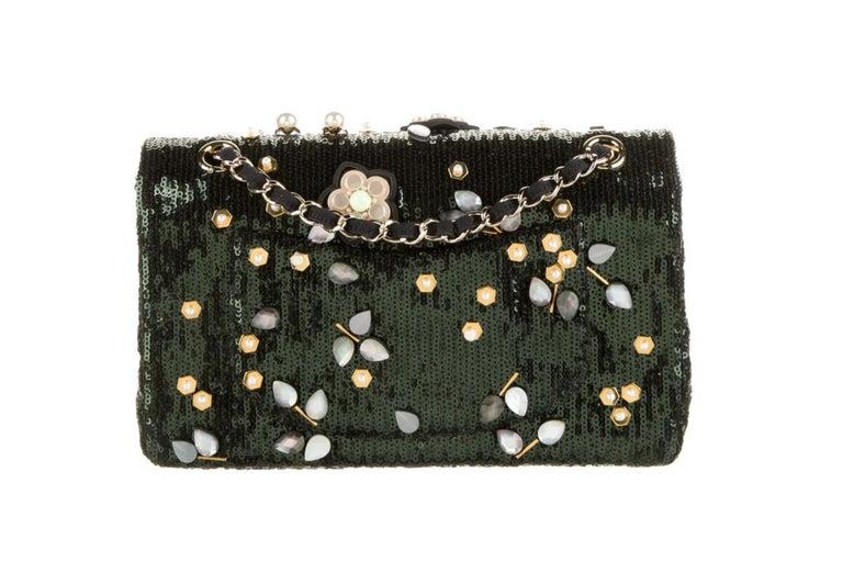 Black Chanel Green Sequin Bead Embroidery Flower Evening Medium Shoulder Flap Bag For Sale