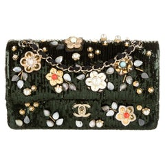Chanel Green Sequin Bead Embroidery Flower Evening Medium Shoulder Flap Bag