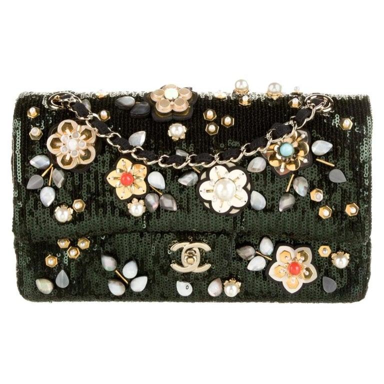 Chanel Green Sequin Bead Embroidery Flower Evening Medium Shoulder Flap Bag For Sale