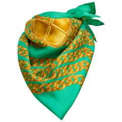 Chanel Green Silk Gold Link Printed Scarf