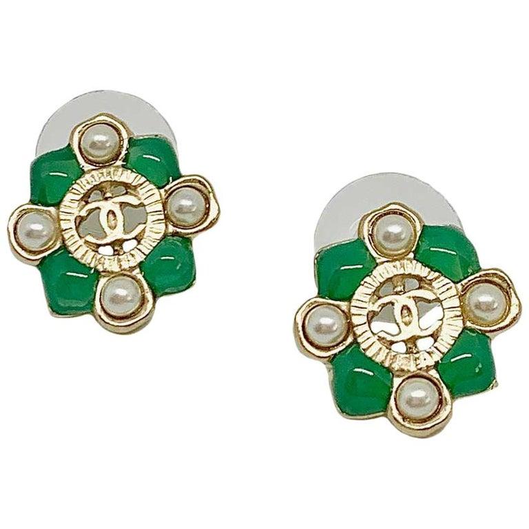 CHANEL Green Stud Earrings For Sale