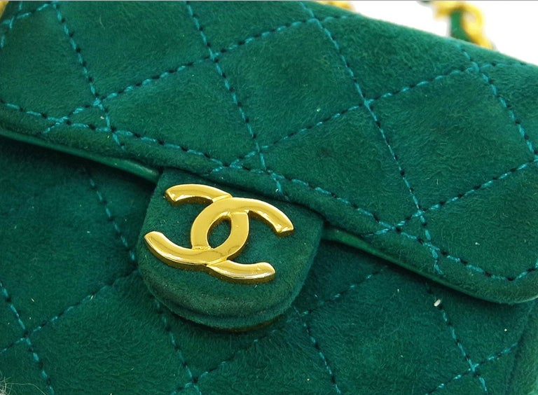 Chanel Green Suede Gold Small Micro Mini Party Crossbody Shoulder Flap Bag In Good Condition For Sale In Chicago, IL