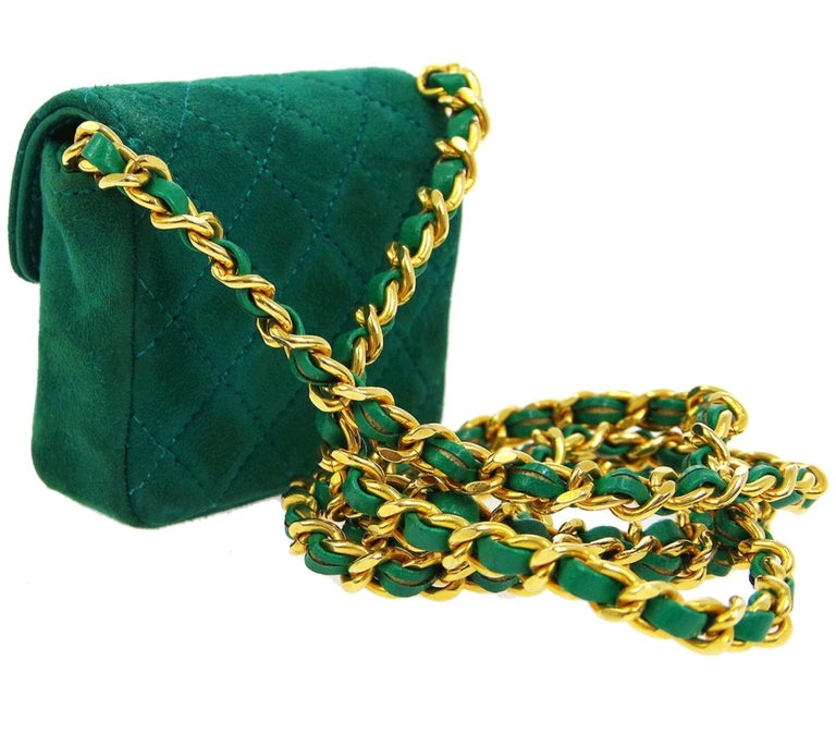 Women's Chanel Green Suede Gold Small Micro Mini Party Crossbody Shoulder Flap Bag For Sale