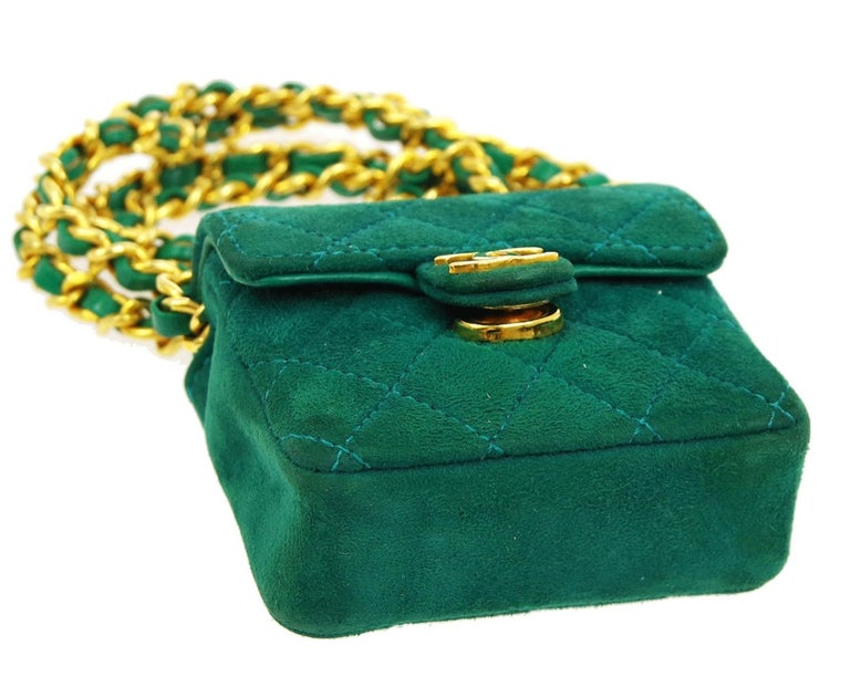 Chanel Green Suede Gold Small Micro Mini Party Crossbody Shoulder Flap Bag For Sale 1