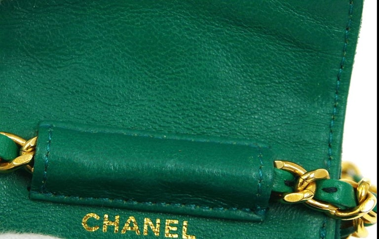 Chanel Green Suede Gold Small Micro Mini Party Crossbody Shoulder Flap Bag For Sale 2