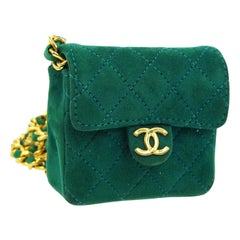 Chanel Green Suede Gold Small Micro Mini Party Crossbody Shoulder Flap Bag