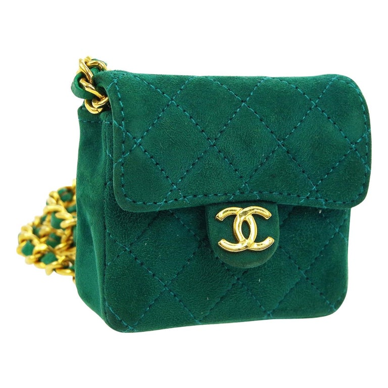 Chanel Green Suede Gold Small Micro Mini Party Crossbody Shoulder Flap Bag For Sale
